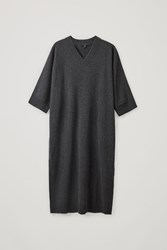 Cos V Neck Lambswool Dress Grey