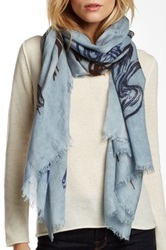 Leigh And Luca Marble Design Silk Blend Scarf Blue
