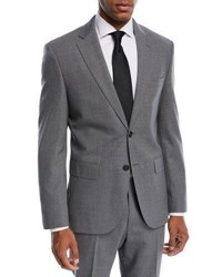 Boss Solid Wool Two Piece Travel Suit Medium Gray