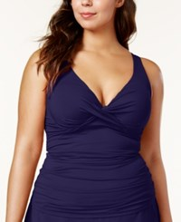 Anne Cole Plus Size Ruched Tankini Top Women's Swimsuit Navy