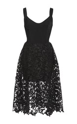 Oscar De La Renta Sleeveless Lace Dress Black