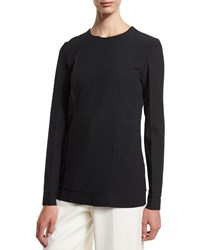 Alexander Wang Long Sleeve Fold Detail Tunic Blouse Onyx Black