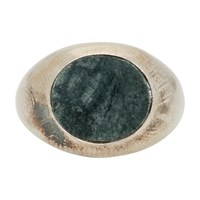 Jil Sander Silver And Green Stone Chevalier Ring