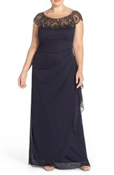 Xscape Evenings Plus Size Women's Xscape Beaded Neck Empire Gown