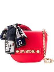 Love Moschino Scarf Embellished Crossbody Bag Red