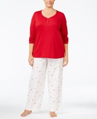 Charter Club Plus Size Solid Henley Top And Printed Pants Pajama Set Only At Macy's Red Ivory Cardinal