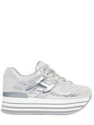 Hogan 70Mm Maxi 222 Metallic Leather Sneakers