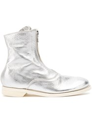 Guidi Zipped Ankle Boots Silver