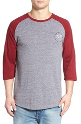 Brixton Men's 'Wheeler' Three Quarter Raglan Baseball T Shirt Light Heather Grey Burgundy