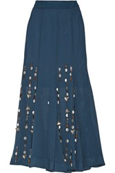 By Malene Birger Aria Embellished Georgette Maxi Skirt Storm Blue