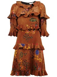 Fendi Floral Embroidered Ruffle Dress Brown