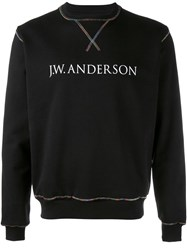 J.W.Anderson Rainbow Stitch Logo Jumper Black