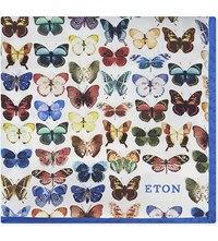Eton Butterfly Silk Pocket Square Pink Red