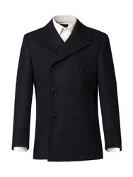 Alexandre Of England Hinton Melton Double Breasted Overcoat Blue
