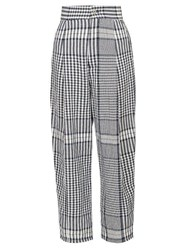 Loewe Check Crinkled Canvas Tapered Trousers Black White