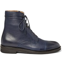 Maison Martin Margiela Grained Leather Boots Blue