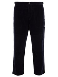 Oliver Spencer Judo Cotton Corduroy Cropped Trousers Navy