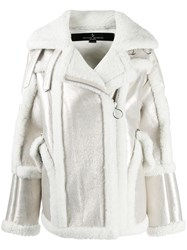 Nicole Benisti Montaigne Shearling Trimmed Jacket White