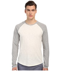 Vince Long Sleeve Slub Raglan Baseball Tee Heather White Heather Steel