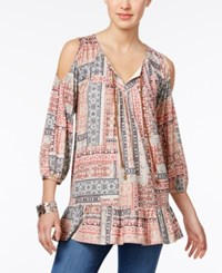 Style And Co Petite Printed Cold Shoulder Peplum Peasant Top Only At Macy's Scarf Game