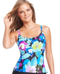 Island Escape Tropical Floral Print Tankini Top Women's Swimsuit Blue Multi