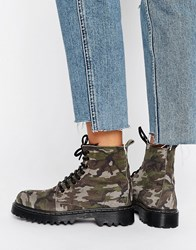 Park Lane Chunky Sole Lace Up Boot Camouflage Suede Multi