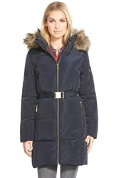 Women's Michael Michael Kors Faux Fur Trim Belted Down And Feather Fill Parka