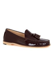 Topman Red Burgundy Leather Tassel Loafers