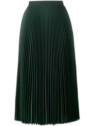 Prada Pleated A Line Skirt Silk Polyester Cupro Virgin Wool Green
