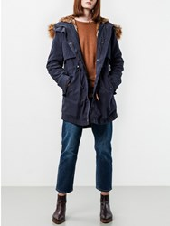 Parka London Lara Faux Fur Lined Navy