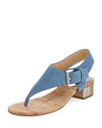 Michael Michael Kors London Suede Low Heel Thong Sandal Denim Blue