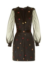 Alexander Mcqueen Obsession Fil Coupe Button Up Dress Black Multi
