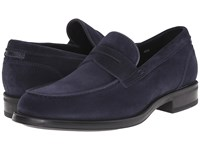 Aquatalia By Marvin K Neil Navy Dress Suede Men's Slip On Shoes Blue