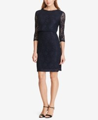 American Living Lace Popover Dress Navy