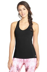 Alo Yoga Women's Alo 'Chromatic' Long Bra Tank Black Black Glossy