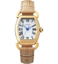 Links Of London Driver Ellipse Yellow Gold Plated Watch Tan