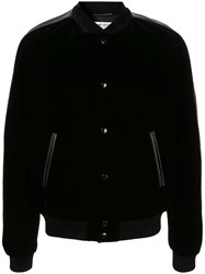 Saint Laurent Teddy Squelette Bomber Jacket Black
