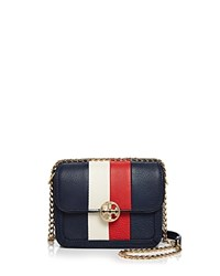 Tory Burch Duet Chain Stripe Micro Leather Shoulder Bag Royal Navy Gold