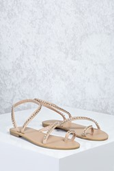 Forever 21 Rhinestone Strappy Sandals Nude