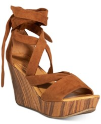 Kenneth Cole Reaction Women's Sole Rise Lace Up Platform Wedge Sandals Women's Shoes Cognac