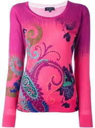 Etro Paisley Print Fine Knit Jumper Pink And Purple