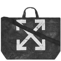 Off White End. X Chemical Wash Canvas Tote Bag Black