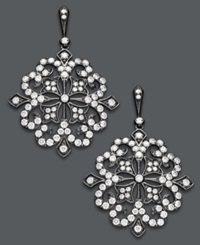 Effy Collection Deco By Effy Diamond And Black Rhodium Diamond Flower Earrings 1 5 8 Ct. T.W. In 14K White Gold