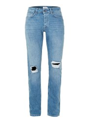 Topman Light Wash Blue Ripped Stretch Slim Jeans