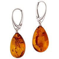 Be Jewelled Sterling Silver Amber Pear Drop Earrings Silver Coral