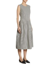 Comme Comme Broad Stripe Fit And Flare Dress White Black
