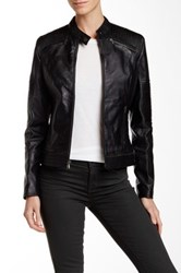 7 For All Mankind Genuine Leather Moto Jacket Black