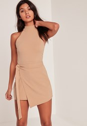 Missguided Nude Wrap Tie Waist Sleeve Playsuit Pink