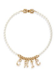 Miriam Haskell 'Chic' Swarovski Crystal Glass Pearl Necklace White Metallic