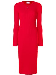 Courreges Ribbed Knitted Dress Cotton Cashmere Red